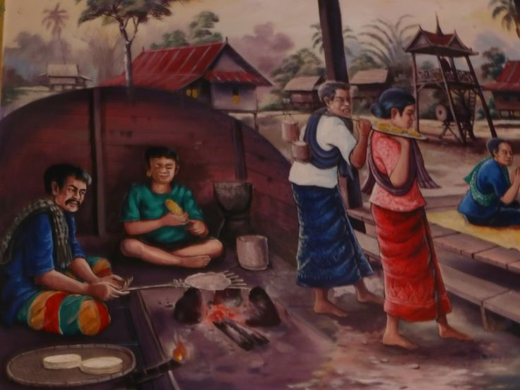 Hand paintings on Temple walls in Thailand - Leeya law Resort UdonThani
