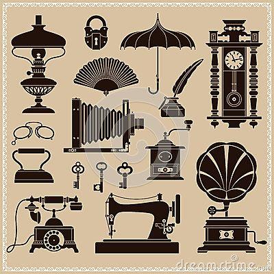 Coisas efêmeras do vintage e objetos da era velha