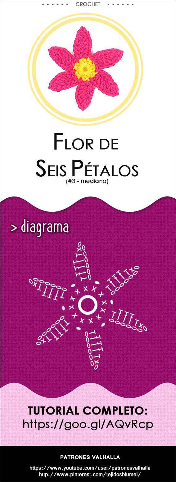 #Flor de Seis Pétalos a #Crochet 3 (mediana) | #PatronesValhalla