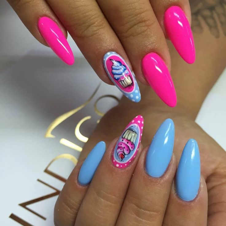 by Indigo Educator Magdalena Żuk :) Follow us on Pinterest. Find more inspiration at www.indigo-nails.com #nailart #nails #indigo #summer #icecream #pink #blue #cupcake
