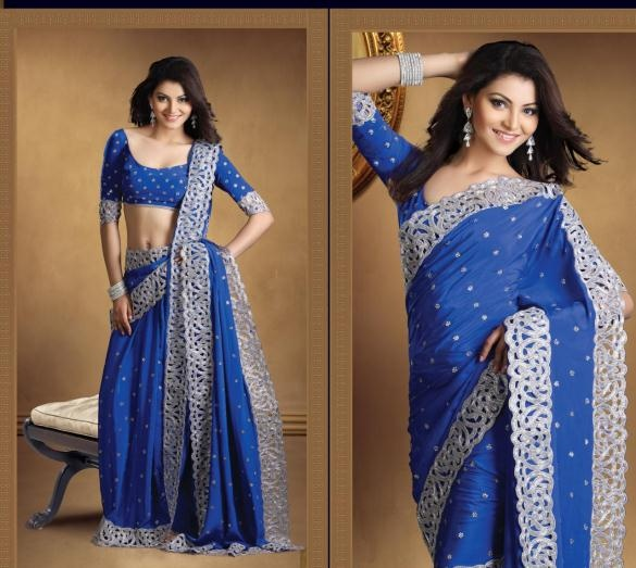 Blue Silk Bridal Saree 15477 With Unstitched Blouse