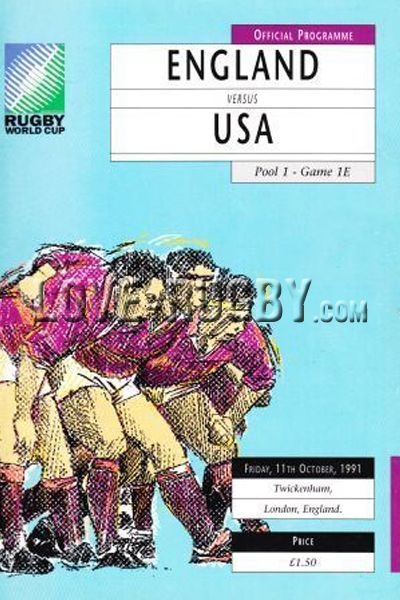 #rugby today 11/10 in 1991 : England 37-9 USA Eagles - rugby world cup programme from Twickenham