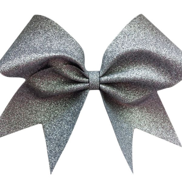 Silver glitter cheer bow | Big cheer bows, Cheer and Cheer ...  Silver glitter ...