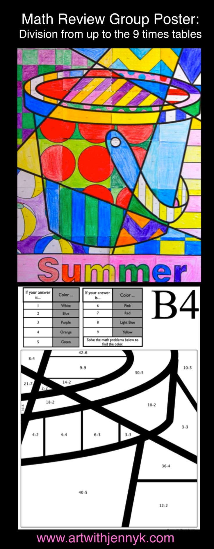 Use art to review math! The colors on every page of this large, classroom mosaic poster are assigned based on the answers to math problems written on each sheet. Division through the 9s times tables is reviewed on this poster. In the end you'll have a beautiful summer poster to display in your room or at your school!