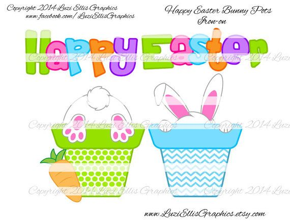 Happy Easter bunny in pot easter carrot by LuziEllisGraphics