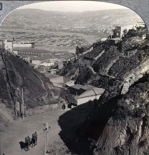 https://flic.kr/p/dTWvYh | stereowiew la novedad del siglo XX, detalle del camino Orompello de  Valparaiso  XXX