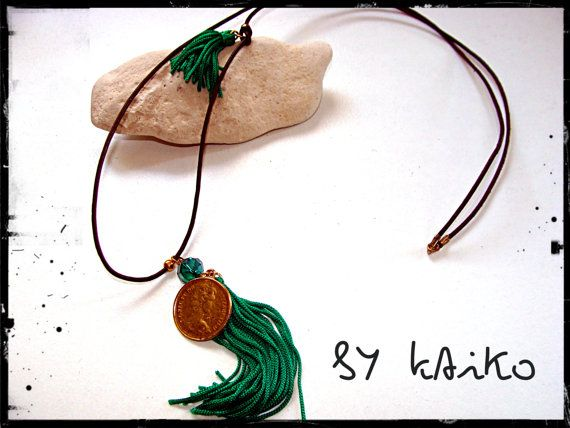 Long necklace with tassels gold bead leather cord gold-plated coin crystal beads.     Για αγοραστές από Ελλάδα, υπάρχει η δυνατότητα αντικαταβολής και η