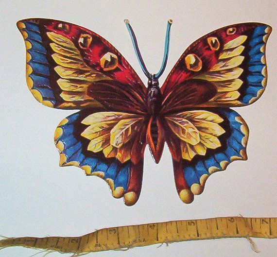 New German Large Colorful Yellow Blue Red Butterfly diecut scrap scrapbooking card making paper art craft