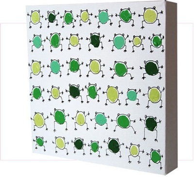 Organized Green Frogs - Original Paintings for Kids