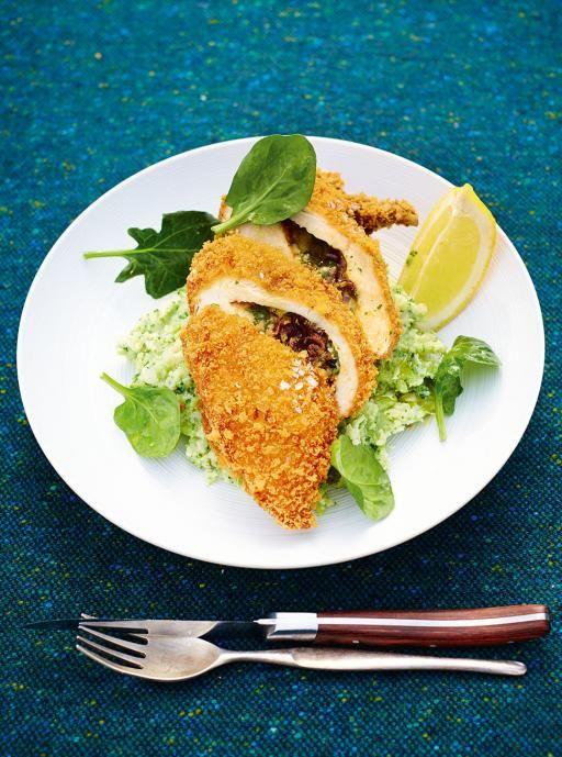 Chicken Kiev | Comfort Food | Jamie Oliver - add chicken salt, garlic salt, fresh basil and parmesen cheese