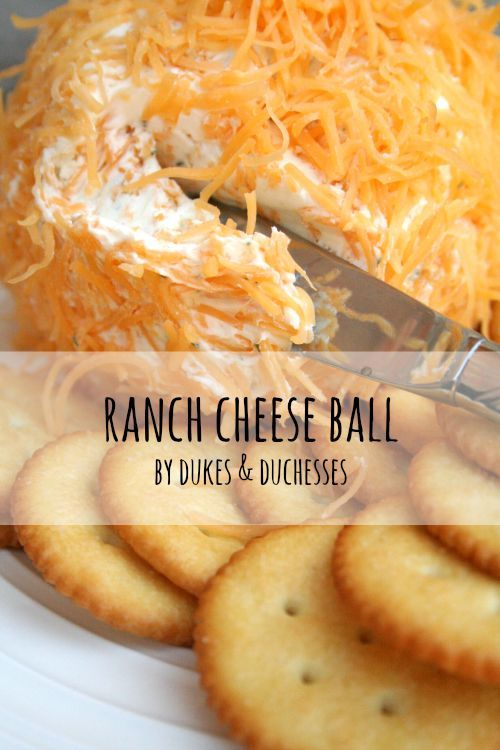 ranch cheese ball recipe... To make the cheese ball, you'll need one and a half cups of shredded cheddar cheese {the finely shredded cheese mixes and covers better than a coarsely grated cheese}, two 8-ounce blocks of cream cheese, and 1-2 packets of dry ranch dressing. I add a pinch of garlic powder, minced  onion, 1T Worcestershire and roll it in cheddar or chopped ham.