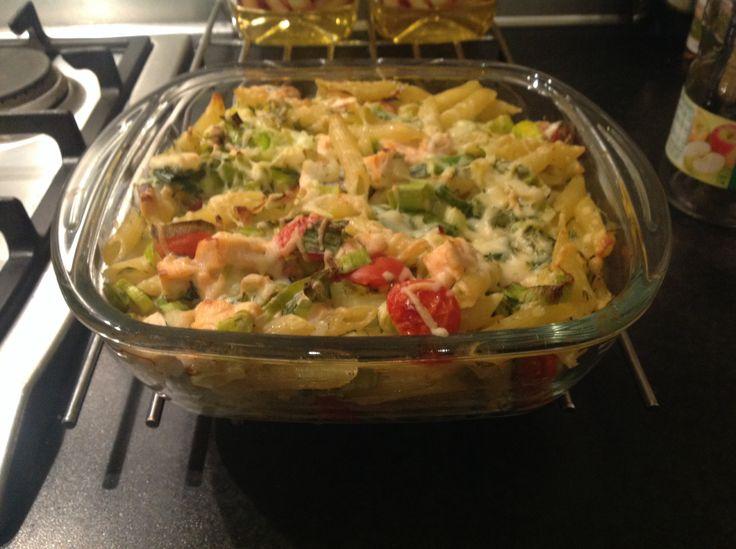 Ovenschotel zalm, prei en  pasta. Koken met Karin, zonder pakjes en zakjes 2