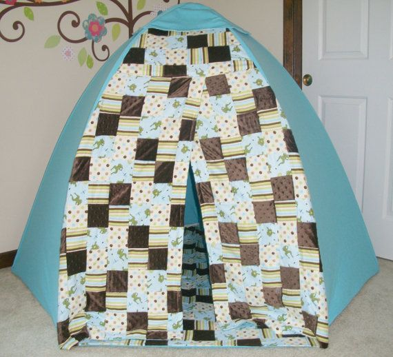 Toddler Play Tent Blue Frogs Dome Tent by suitedreamcreators