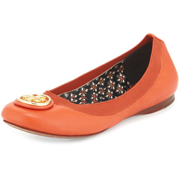 Tory Burch Caroline Leather Ballet Flat ($225) ❤ liked on Polyvore featuring shoes, flats, equestrian orange, ballet flats, orange flats, round toe flats, flat pumps and high heel shoes