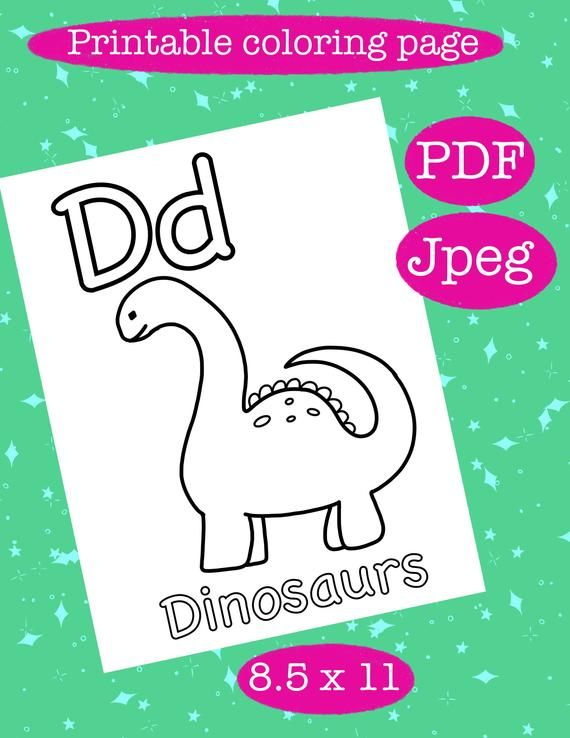 Check Out This Item In My Etsy Shop Https Www Etsy Com Listing 777655804 Dd Dinosaurs Letter Coloring Page In 2020 Abc Coloring Pages Coloring Pages Digital Sticker