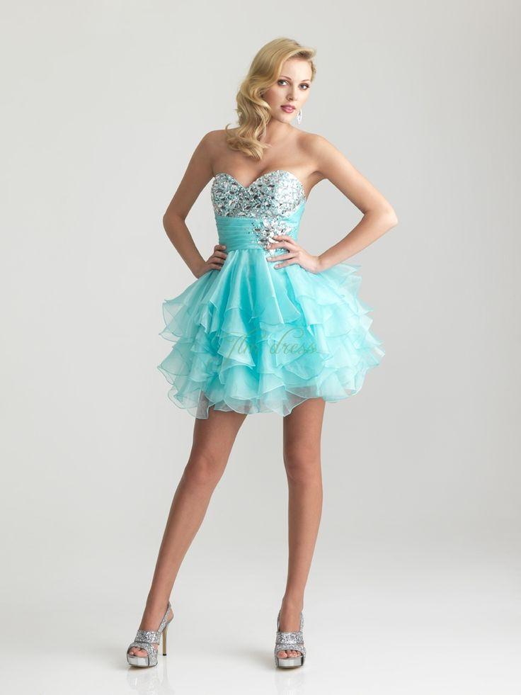blue-organza-sequined-short-mini-length-evening-dresses-
