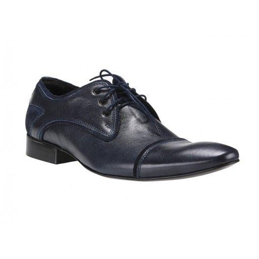 Kožené pánske topánky modrej farby COMODO E SANO - fashionday.eu