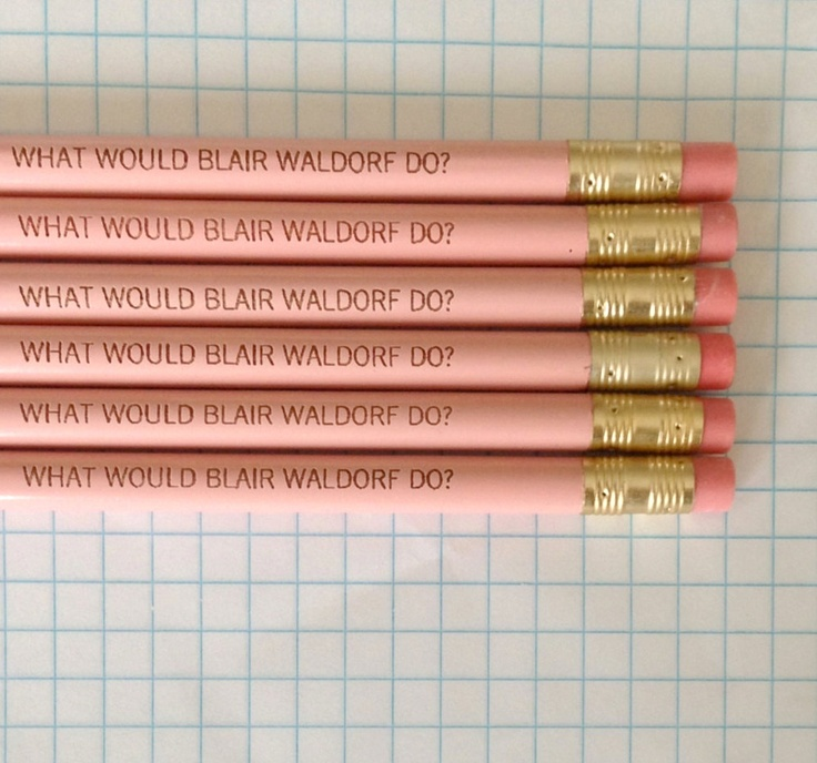 what would blair waldorf do 6 pencils in pastel pink. $8.00, via Etsy.