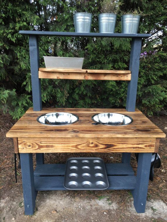 mud kitchen frame made from pressure treated timber cladded in