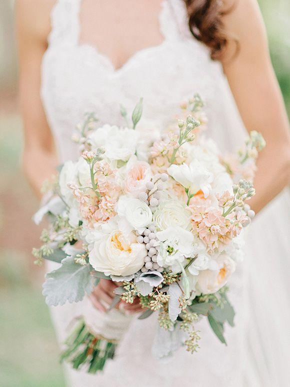 Peach and ivory bridal bouquet (Florist The Flower Post) - Elegant Horse Farm Wedding in the mountains captured by Amy Arrington - via Grey likes weddings