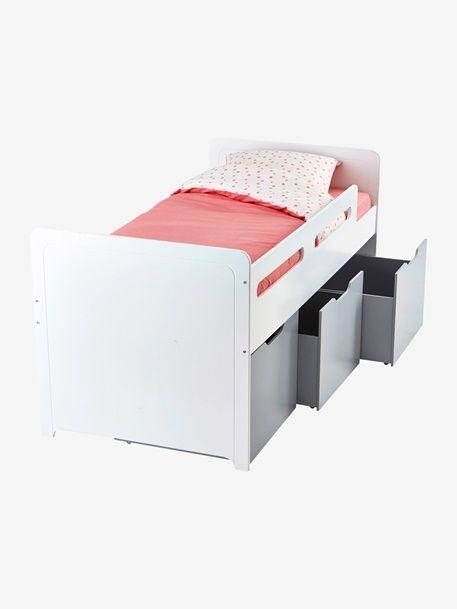 Combiné lit enfant avec rangements LIGNE PASSE-PASSE - blanc/gris