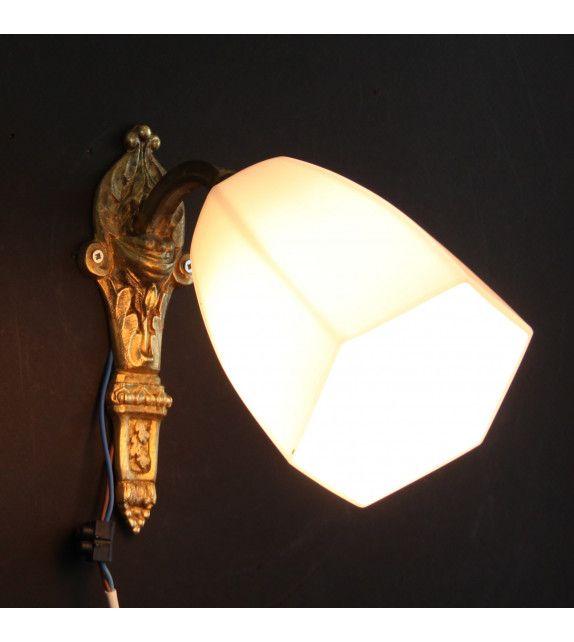 ancienne tulipe en verre pour lustre lampe ou applique