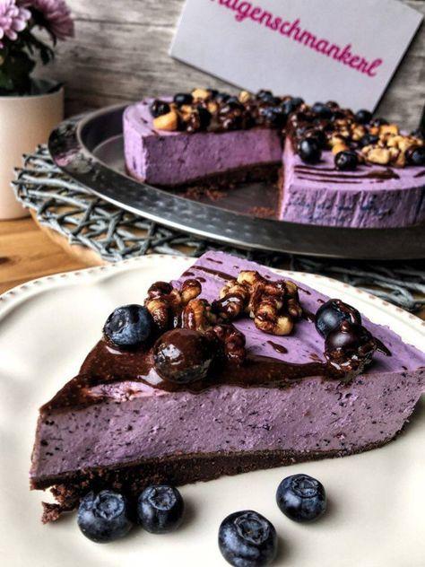 Low Carb Blueberry Cheesecake ein Low Carb Käsekuchen mit Blaubeeren aus der Kategorie Backen ohne Zucker und Kuchen ohne Kohlenhydrate