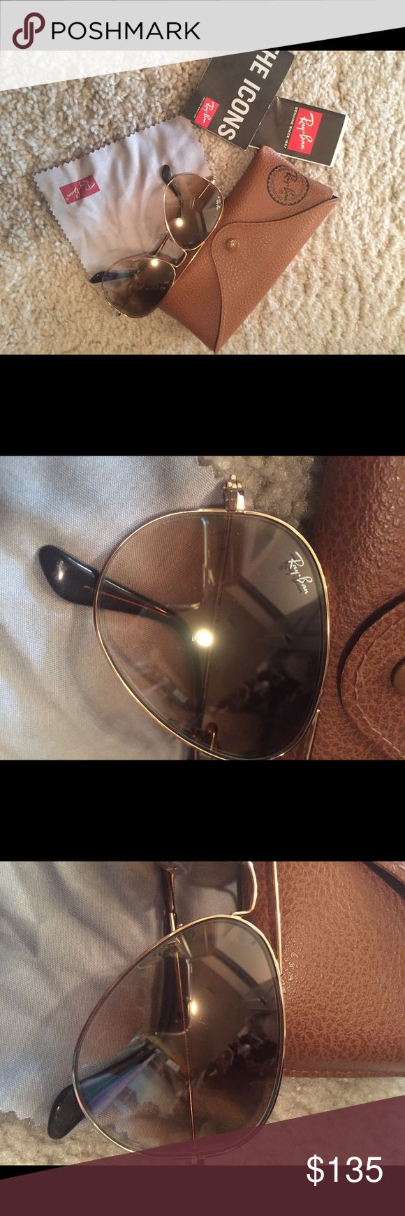 Ray-Ban Aviators Brown lens. Gold hardware. RB 3025. 001/51. 135. 2N. Made in Italy. Ray-Ban Accessories Sunglasses