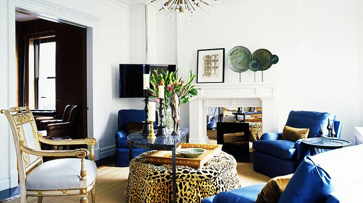 12 Top Designers Share the Best Style Lessons They Learned From Mom // Mother's Day, Vicente Wolf, living room by @VW Home by Vicente WolfLiving Rooms, Interiors, Livingroom, Vicente Wolf, Blue Chairs, Wolves, Animal Prints, Vincent Wolf, Design