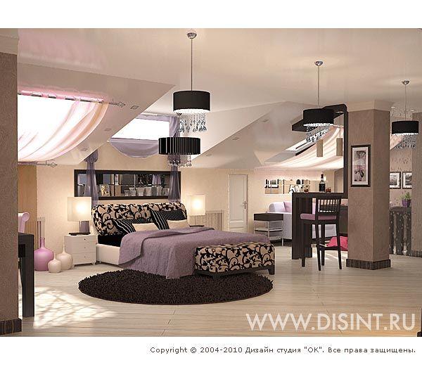 3D дизайн интерьера спальни в загородном доме - http://www.ok-interiordesign.ru/dizayn-mansardy-doma.php