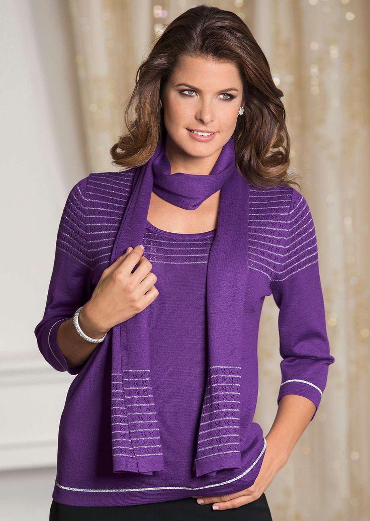 #Pullover mit #Schal in leichten Feinstrick und mit Ajourstrick ©Atelier Goldner Schnitt | www.ateliergs.at
