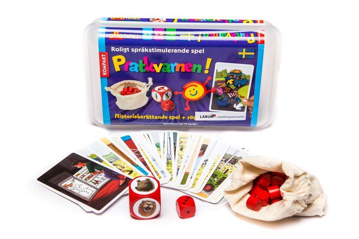 Skapande aktiviteter : Pratkvarnen!Pratkvarnen är ett roligt språkstimulerande spel. Med Pratkvarnen börjar barnen berätta spontant och lär sig använda rösten på olika sätt. Det är lätt och säkert att förvara och flytta spelet i den stabila lådan. Innehåll: 33 spelkort, linnepåse, 30 vinststenar av trä, en stor trätärning med ljudvariationer, speltärning 1-3. Spelregler på 17 språk.