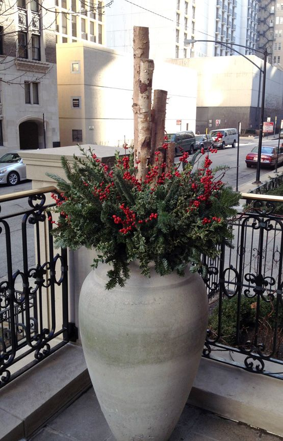 Winter, decor, planter, urn, container, birch poles, evergreens, winterberry, urban, garden, landscape, design