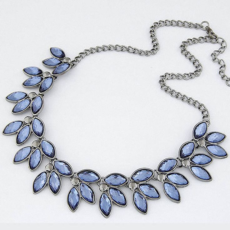 2016 Fashion Women Blue Crystal Statement Necklace Summer Style Black Chain Necklaces & Pendants Colar Jewelry For Gift Party
