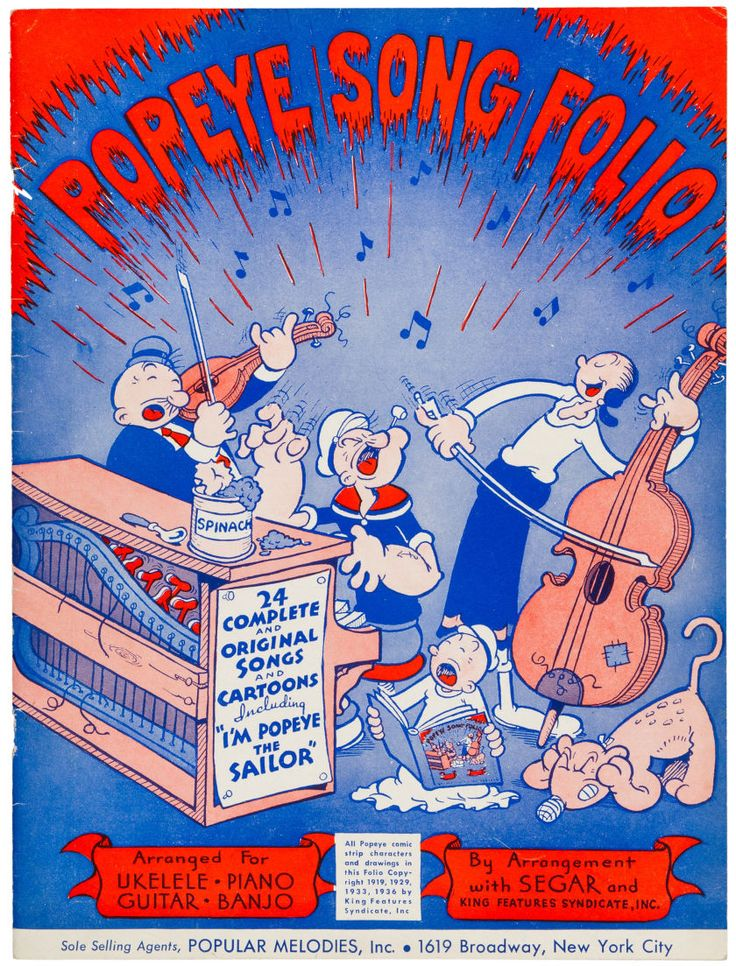 Popeye Song Folio Sheet Music (Popular Melodies, 1936)