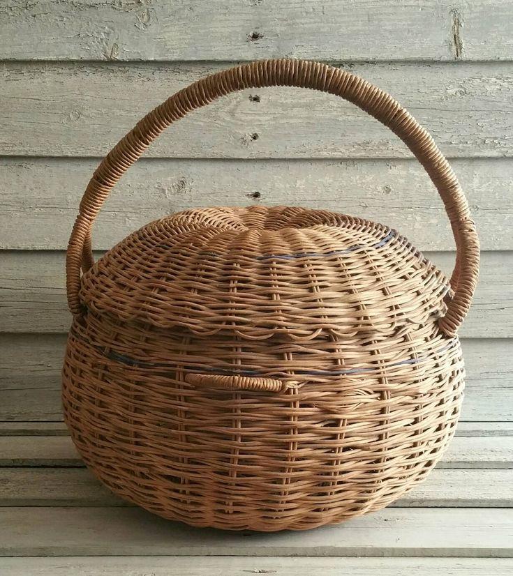 Vintage Handwoven Cane Basket With Lid, Feather Basket, Yarn Basket by EmptyNestVintage on Etsy