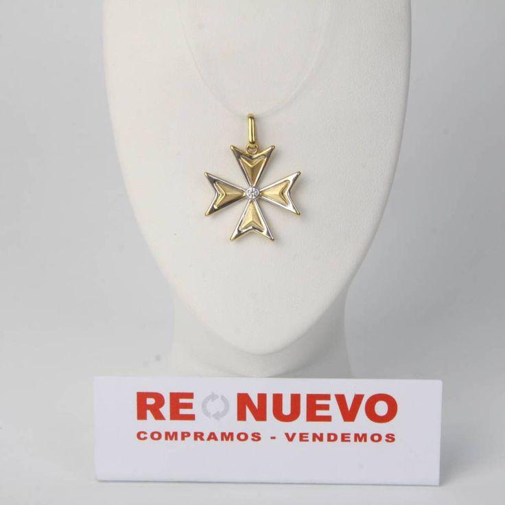 Cruz de oro bicolor de segunda mano con una circonita E273947 | Tienda online de segunda mano en Barcelona Re-Nuevo