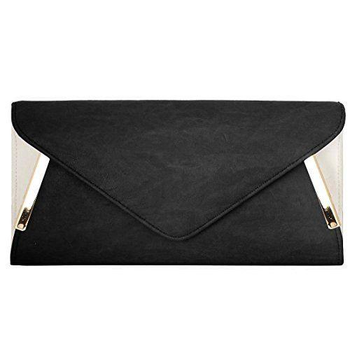 BMC Womens PU Leather Envelope Clutch Two Tone Evening Bag Crossbody Purse Handbag w/ Detachable Shoulder Chain