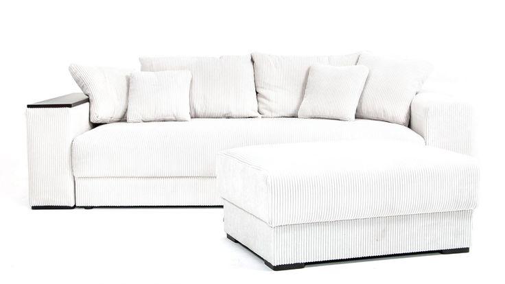 Vit Björnen bäddsoffa med matchande sittpuff.  Manschester, soffa, trälock, trä, lock, smart förvaring, djup soffa, låg soffa, vardagsrum, sovrum. http://sweef.se/soffor/76-bjornen-baddsoffa.html