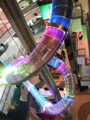 The world's largest indoor slide, and if that doesn't impress you it is also the world's largest glow stick.