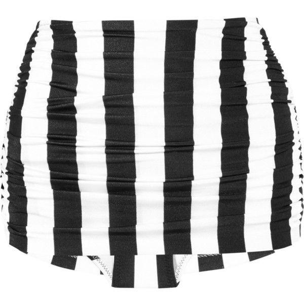 Norma Kamali Bill high-waisted bikini briefs ($68) ❤ liked on Polyvore featuring swimwear, bikinis, bathing suits, swim, swimsuits, black, high waist bikini swimsuit, high rise bikini bottom, scrunch bikini bottoms and ruched bikini bottom