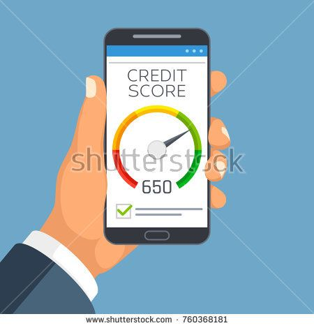 Stock Vector: Credit score business report on smartphone screen. Credit rating meter app vector concept. Credit financial indicator rating illustration -