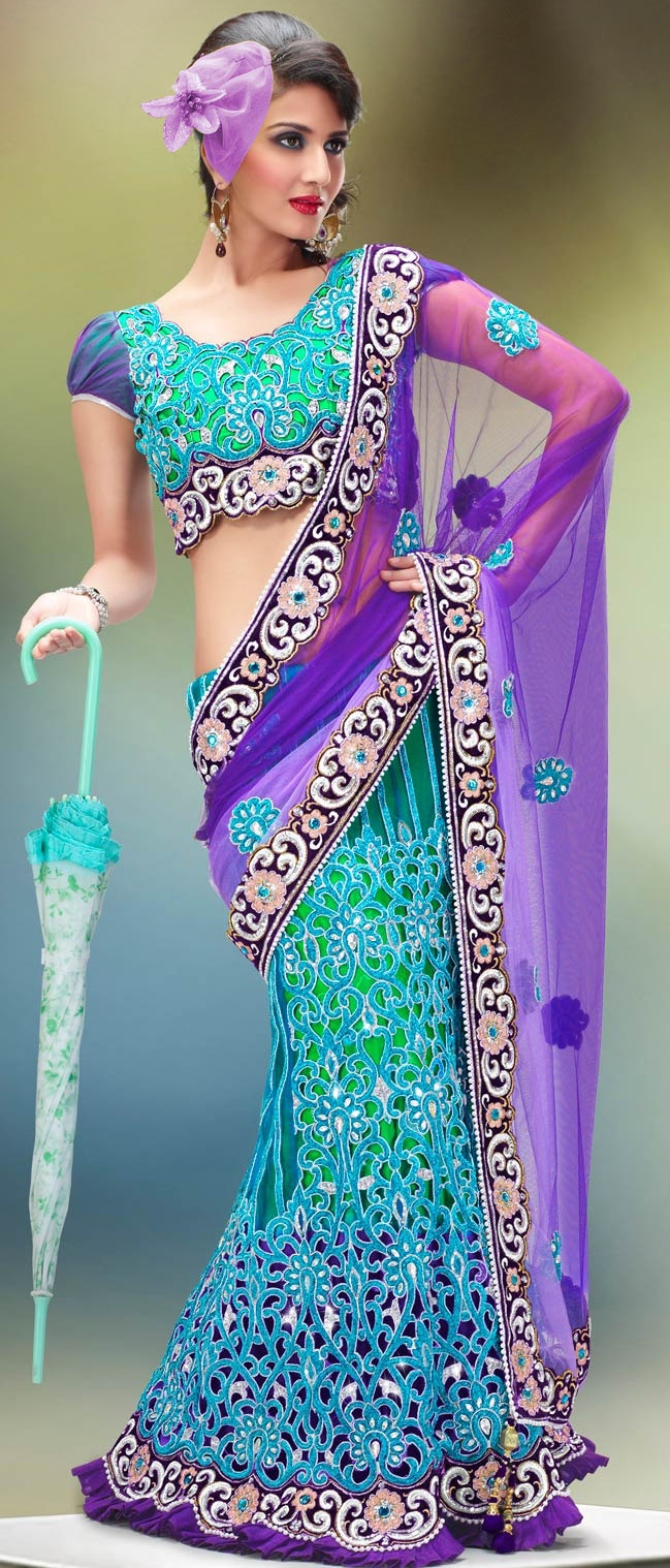 #Purple and Turquoise Net #Lehenga Style #Saree with #Blouse @ $274.99 | Shop @ http://www.utsavfashion.com/store/sarees-large.aspx?icode=sws4223