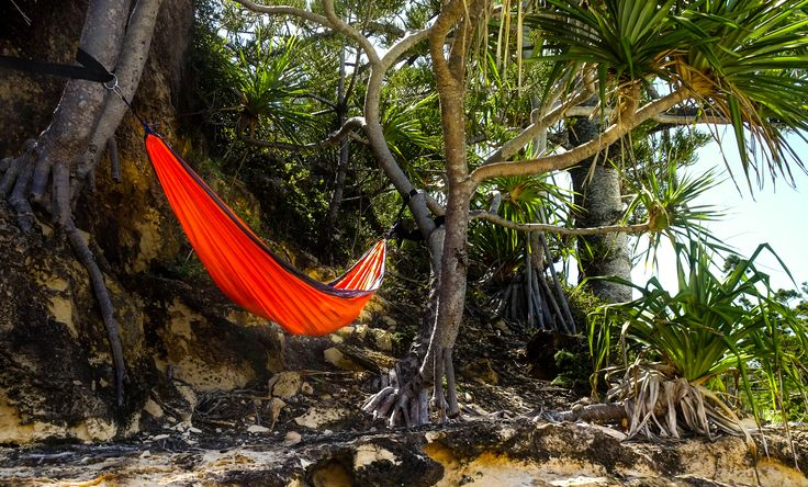 Parachute Hammock Between Trees on Cliff