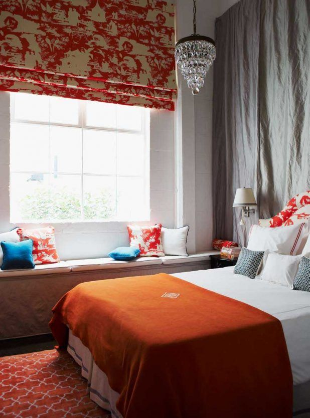 White interior bedroom scheme charming habitually classy room decorations with comfortable bed furniture inspirations that have orange bedding complete with the pillows and minimalist window seating space that have retro style pillows accessories also simple creative glass materials pendant lamp
