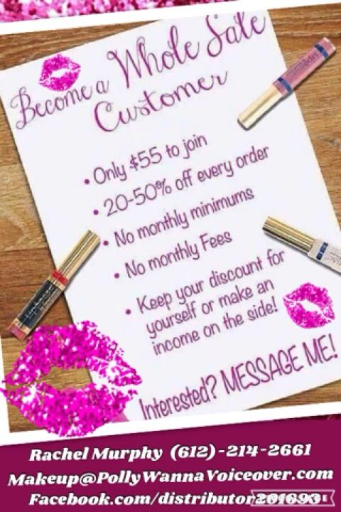 Become a wholesale customer!!! 20-50% off all orders!! Message me for details! (612)-214-2661 makeup@pollywannavoiceover.com #wholesalemakeup #senegence #businessopportunity