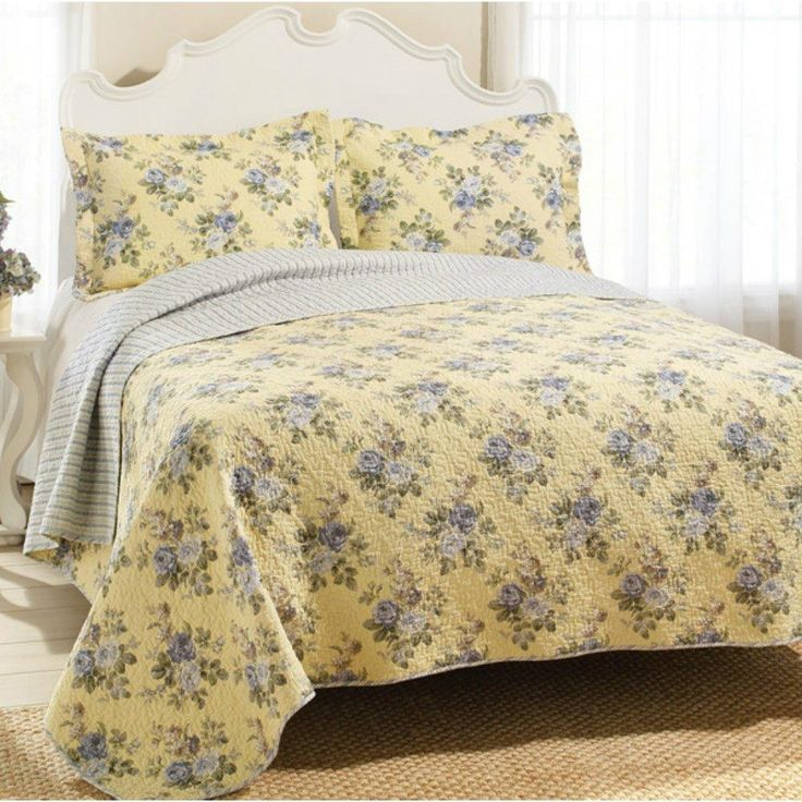 Yellow Bedspread Quilt Set Light Gray Blue Roses Stripe Patterns King Size
