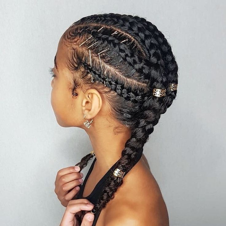 Cornrows- hairstyles for curly little girls #CornrowsHairstyles