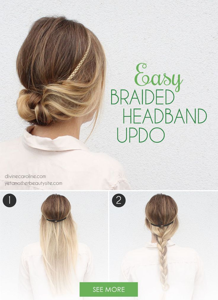 With four easy steps, this braided headband updo is perfect for hair styling newbies. #Hairstyles #Braids