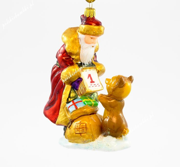 New Year's Santa with Calendar - Polishchristmasornaments